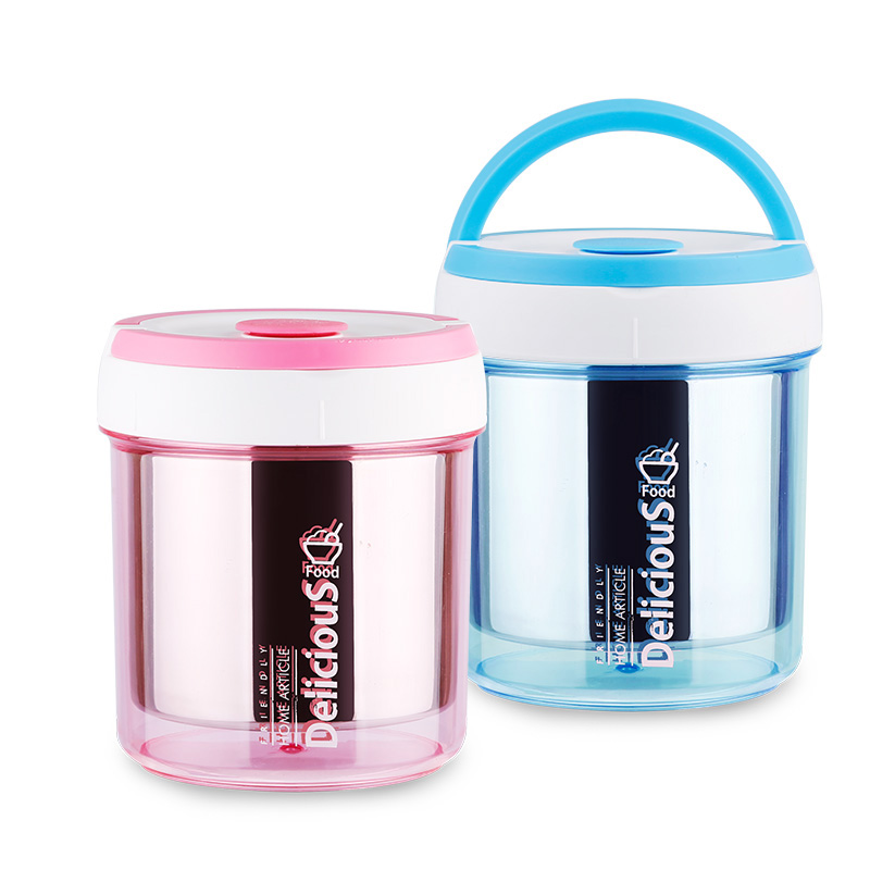 Double Layer Stainless Steel Vacuum Lunch Box Insulated Food Container Thermos Lunch Box With Handle For