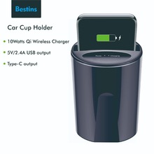 Bestins Fast QI Wireless Car Charger For Samsung S8 S7 Xiaomi iPhone 8 X XS Max Cup Quick Holder in