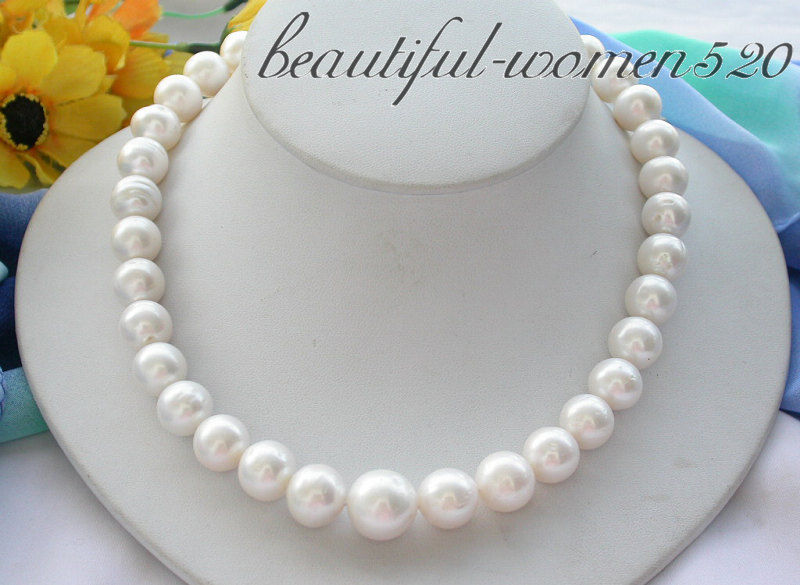 Z4243 REAL 17 15mm ROUND white FRESHWATER PEARL NECKLACEZ4243 REAL 17 15mm ROUND white FRESHWATER PEARL NECKLACE