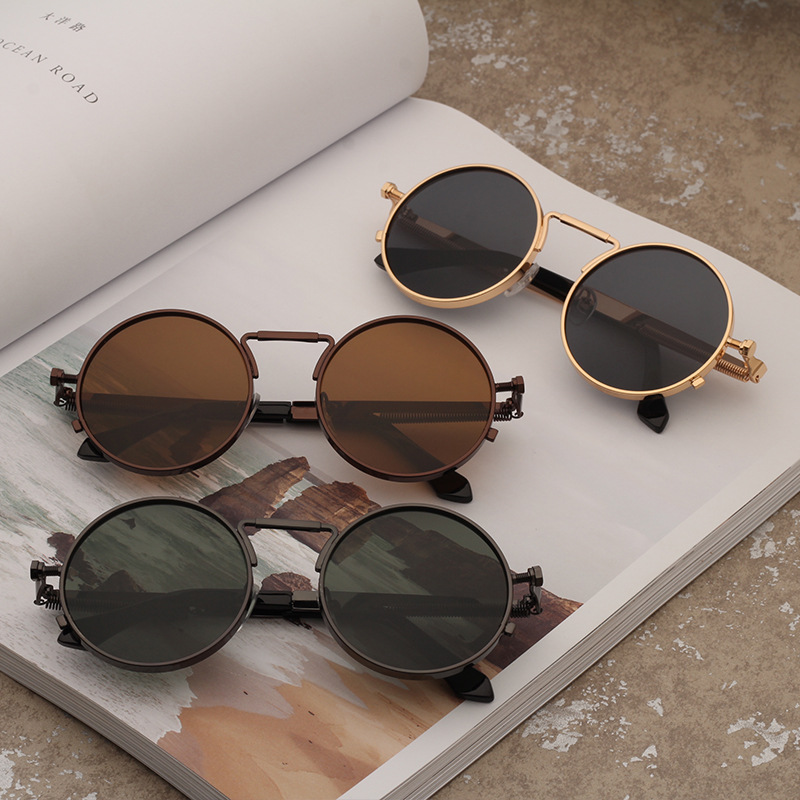 Vintage Men Sunglasses Women Retro Punk Style Round Metal Frame Colorful Lens Sun Glasses Fashion Eyewear Gafas Sol Mujer