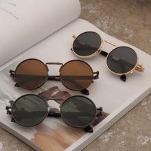 Gafas de sol clásicas para hombre, estilo Retro Punk, montura redonda de Metal, lentes coloridas, a la moda Gafas de sol, Gafas de sol para mujer