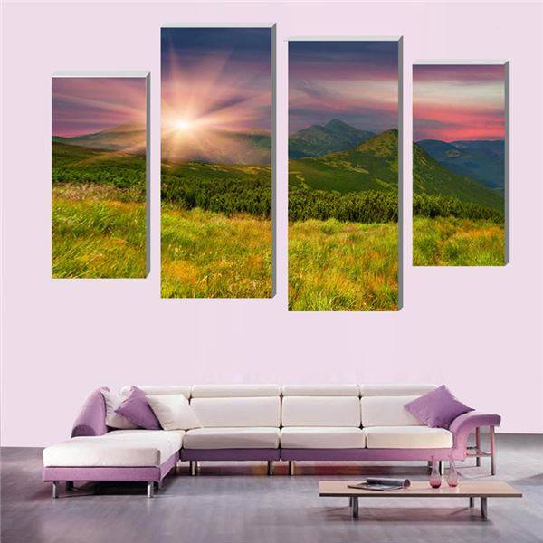 4 Pcs (No Frame) Peak beautiful sunrise Modern Home Decoration Living Room or Bedroom Canvas Print Painting Wall picture -34762- no frame canvas