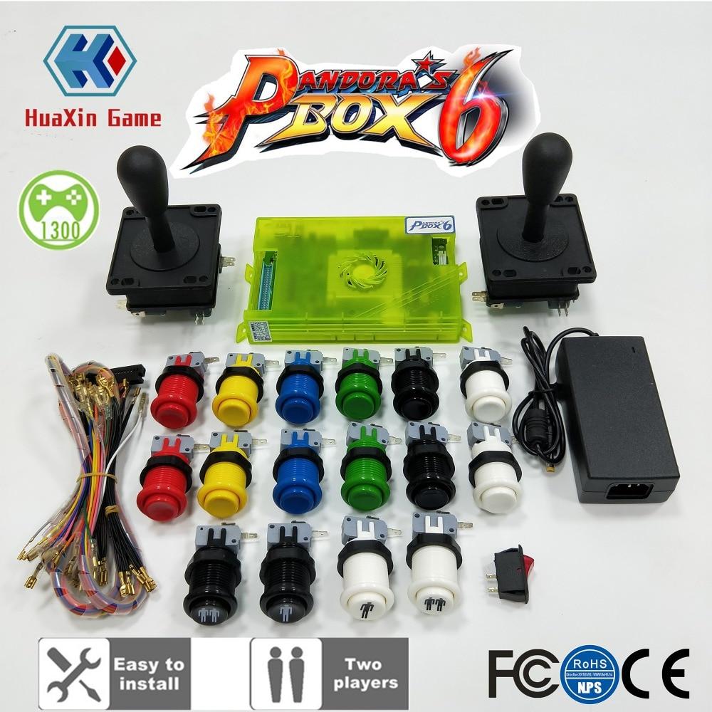 2 joueur D'arcade BRICOLAGE Kit Pandora box 6 1300 dans 1 plateau de jeu et Américain joystick HAPP Style Poussoir bouton pour la Machine D'arcade