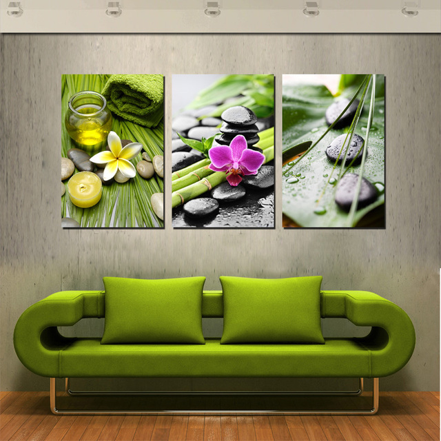 New Arrival Modular Canvas Wall Art Decor Painting Green Bamboo And Black Mage Stone Prints Modern
