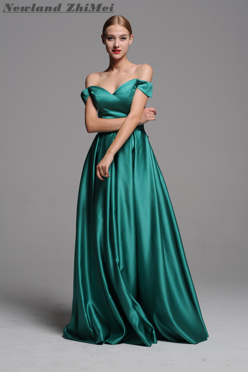 New Arrival Green Long   Prom     Dress   2018 High Quality Beautiful Off the Shoulder A Line Woman Evening Party Gown Lace up Back
