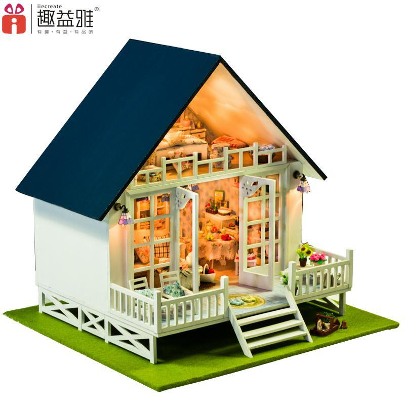 Home Decoration Crafts DIY Doll House Large Wooden Dolls House 3D Miniature Model Kit Dollhouse Furniture Room LED Light 130-17 d030 diy mini villa model large wooden doll house miniature furniture 3d wooden puzzle building model