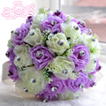 Lilac Cream Artificial Bridesmaid Flower For Wedding Decoration Romantic Wedding Luxury Crystal  Pearl Silk Rose In Stock WF015