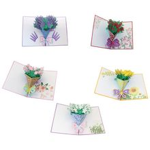 3D Pop Up Flower Greeting Card Wedding Birthday Valentine's Day Mother's Day Anniversary Handmade Cards Gifts