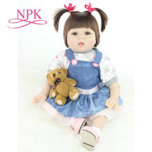 NPK 55cm Silicone Vinyl Reborn Baby Doll Lifelike Newborn Baby Doll Best Gift to Kid/Child/Baby Girls Christmas brinquedos(China)