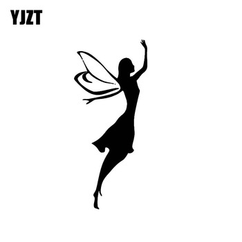 YJZT 6.1*13.9CM Elegant Angel Vinyl Covering The Body Car Sticker Skillful Manufacture Decal Black/Silver Silhoutte C20-1270 image