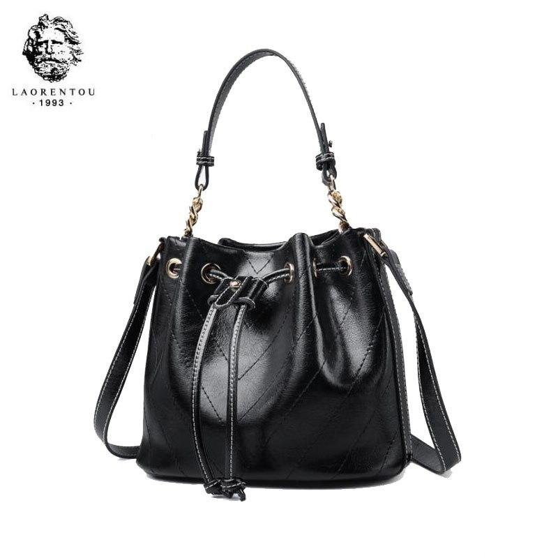 LAORENTOU women leather bag 2020 new wave fashion mini bucket bag female Messenger bag wild shoulder bag 1