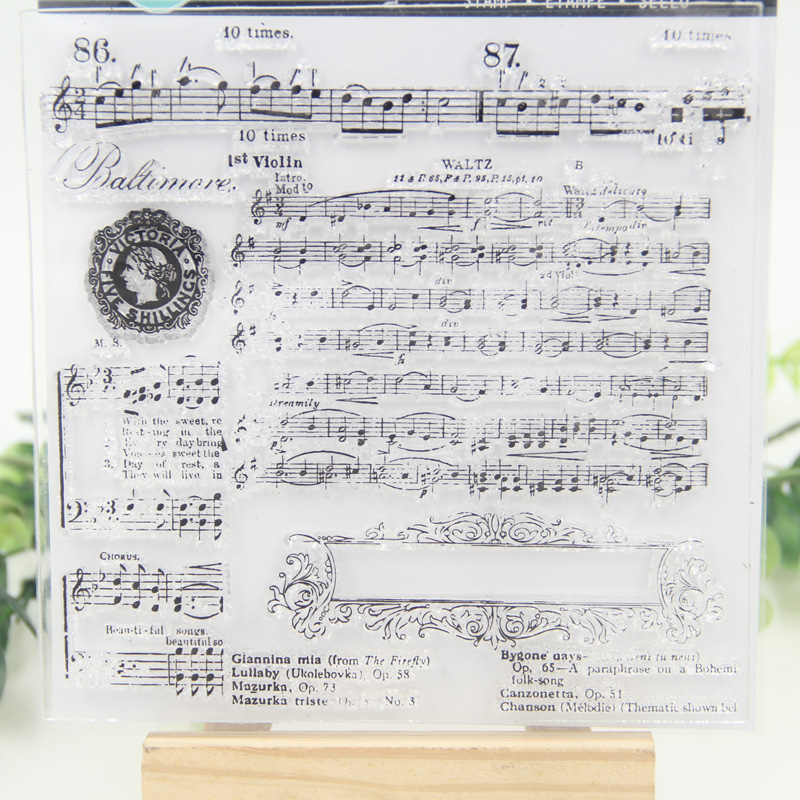1 Sheet DIY Musical Transparent Clear Rubber Stamp Seal Paper Craft Scrapbooking Decoration