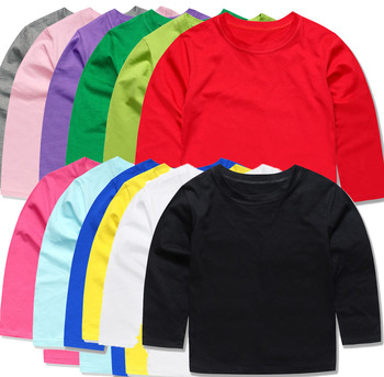 12 kolory jesień dziewczynek topy dzieci zwykły t-shirty OEM koszulki chłopcy koszulki dzieci odzież koc topy dla 1-14 lat tanie i dobre opinie SMHONG Poliester COTTON Aktywny Stałe REGULAR O-neck tops Tees Pełna Pasuje prawda na wymiar weź swój normalny rozmiar