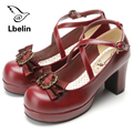 2017 Spring Womens Pumps Shoes Genuine Leather Platform Shoes Bow Shoes Lolita Sweet Middle High Heel Pump lolita Cosplay Ladies