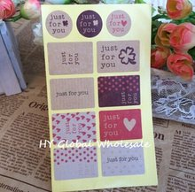 "130pcs/lot Vintage ""just for you"" series Seal Sticker Kraft Paper stickers DIY Multifunction gift sealing label(China)"