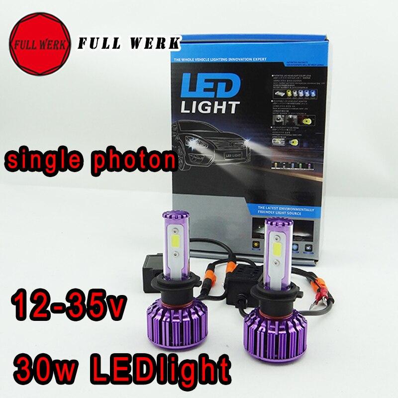 ФОТО 30W 3000LM CREE COB LED 3000K Car Auto low/light beam Headlights Spot Headlamp H1/H3/H7/H11/9005/9006/9012/880/PSX24W/PSX26W