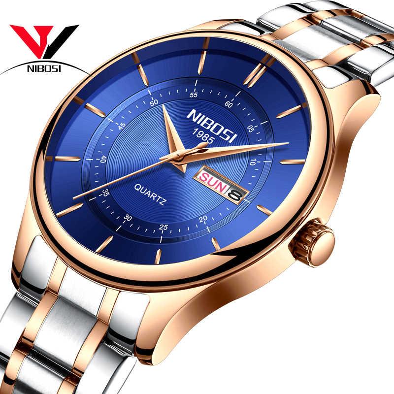 Reloj NIBOSI 2019 para hombre, de primera marca, de lujo, deportivo militar, informal, resistente al agua, relojes de pulsera de cuarzo y acero inoxidable