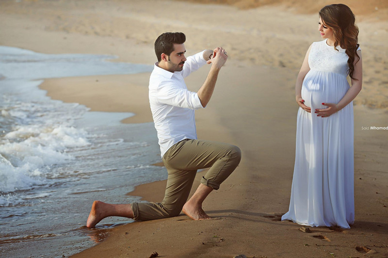 Fashion Lace 2016 White Bridal Gown Beach Pregnant Wedding Bride Dress Vestido