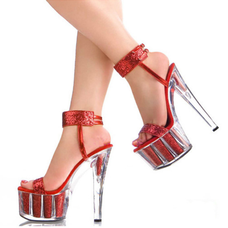 European and American sexy nightclub shoes Thick bottom crystal shoes Red sequined wedding shoes 15cm high-heeled sandals shoe 2016 spring new european and american fashion shoes thick with fish head shoes nightclub new ultra high heels sandals b454