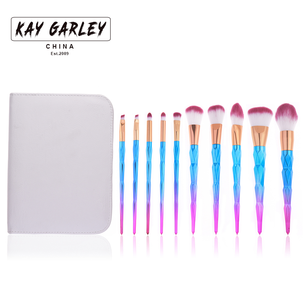KAY GARLEY 10PCS diamond makeup brush set with boutique pu leather zip bag недорго, оригинальная цена