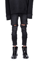 Men Skinny Distressed Ripped Jeans Stretch Knee Hole Camouflage Patches Biker Jeans Hip Hop Streetwear Slim