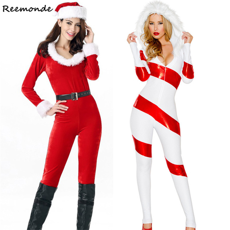 Christmas Santa Claus Cosplay Costumes Red White Jumpsuits Hats Belt Set Uniform For Adults Women Girls Halloween Party Clothes
