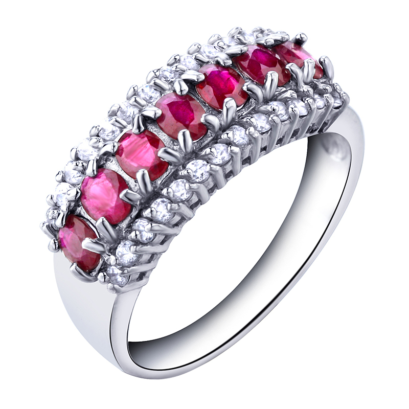 Natural Pink Ruby Ring In 925 Sterling Silver jewelry Fashion Elegant July Birthstone Gi ...