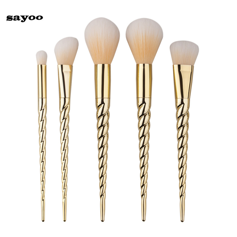 2017 5pcs Eye Shadow Foundation Eyebrow Lip Brush Thread Gold Color Makeup Brushes Tool