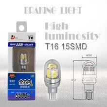 6000 K Mais Novo T16 LEVOU Reverter Luzes Luz de Apoio Carros Lâmpadas T16 15SMD 2835 LED Luz Externa DC 12 V 30 V