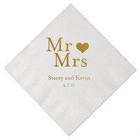 Персонализированные свадебные салфетки с золотой печатью на заказ Mr & Mrs бумажные салфетки день рождения девичник вечерние Столовые Салфет...