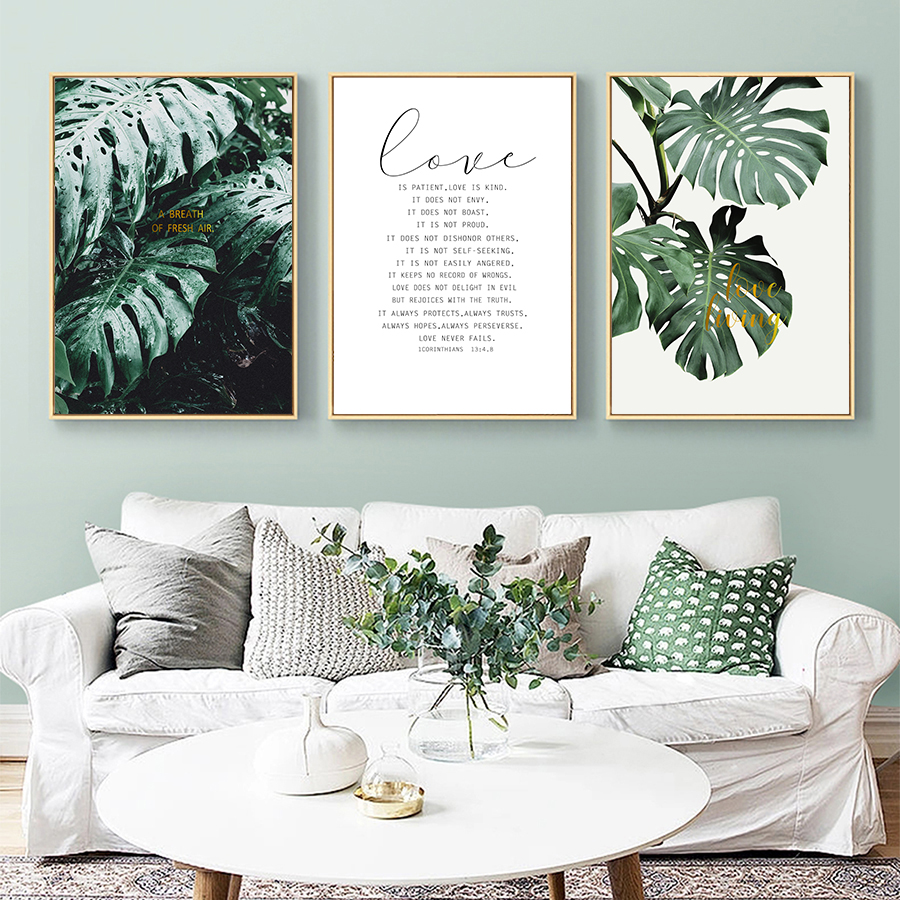 Love Quotes Posters And Prints Art Decor For Bedroom Wall Art Nordic Green Style Canvas Painting Home Hall Decorative Pictures Painting Calligraphy Aliexpress