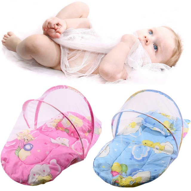 Pink/Blue New Baby Infant Bed Canopy Mosquito Net Cotton-padded Mattress Net With Pillow Foldable Portable