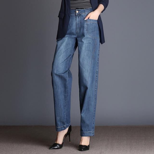 1c73a2ef82 Envío libre 2018 mujeres del resorte de la manera pierna ancha jeans alta  cintura Denim suelta