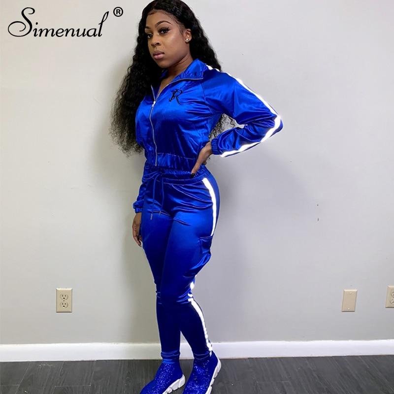 Simenual Neon Linhas Reflexivas Conjuntos Correspondentes Mulheres Casuais Desgaste Ativo 2 Pedaço Roupas de Cetim Zipper Moda Casaco E Calças Set