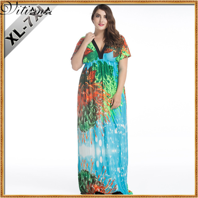 c3225f6ae56 VITIANA Brand Womens Summer Beach Clothing Bohemian Green Blue Print V Neck  Maxi Long Party Dress Plus Size 5XL 6XL Vestidos