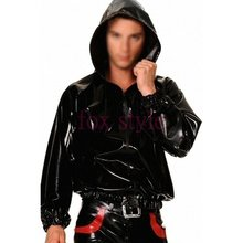 Black latex shirt with cap