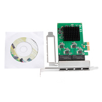 10 100 1000M PCI E PCI Express To 4x Gigabit Card 4 Port Ethernet Network Adapter