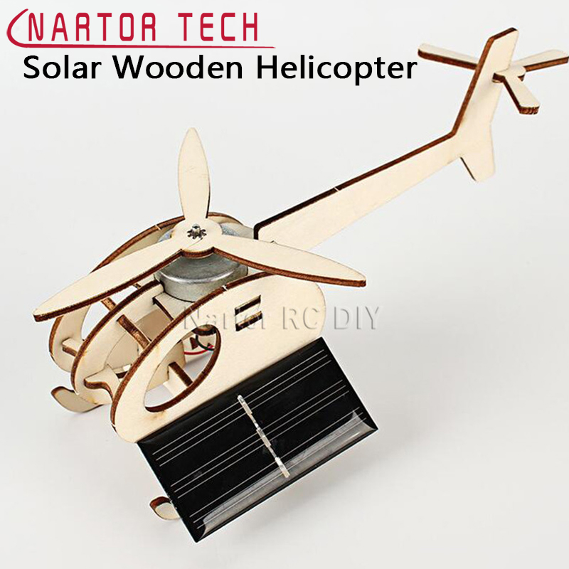 Assembled Solar Wooden Helicopter Airplane DIY Aircraft Science Educational Toys Children's Toy Gift Creative Model image