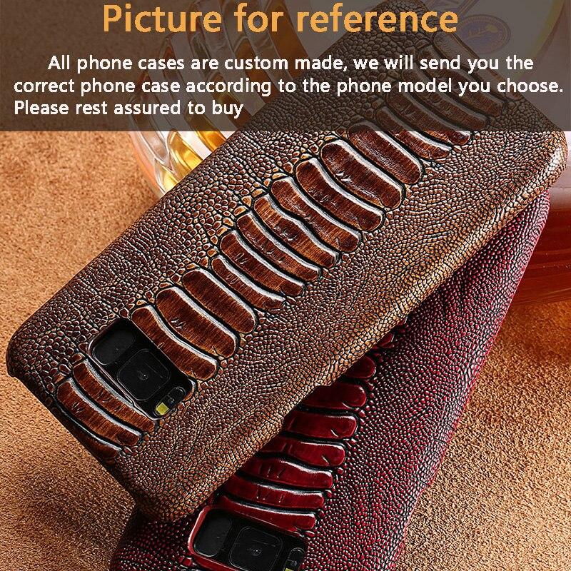 Peau de vache autruche pied texture téléphone étui pour samsung galaxy S7 coque de téléphone sur mesure en cuir véritable téléphone Mobile couverture arrière - 5