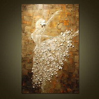 As Gifts Modern Home Decor Wall Art Pictures Large Knife Canvas Paintings Hand painted Abstract White Dancer Women Oil Painting