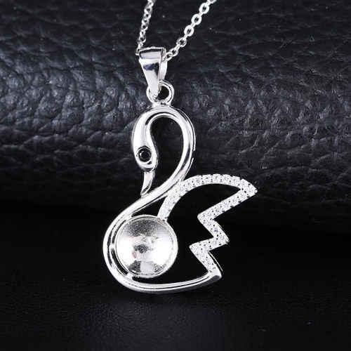 925 стерлингового серебра белого золота цвет полу крепление женский кулон лебедь для 7-9 мм круглый медведь или жемчуг красивые украшения с кристаллами DIY Камень