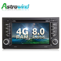 Android 8.0 System 4G RAM Car GPS Navigation System DVD Player Auto Radio Player Audio Video Stereo Media For Audi A4 DAB OBD2