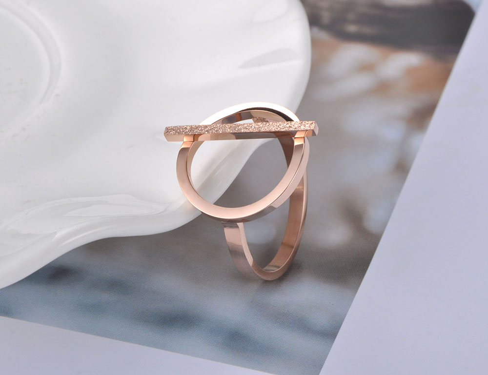 Stainless Steel Rose Gold Geometric Rings
