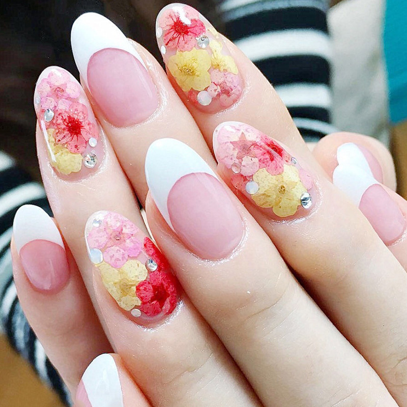 12pcs Natural Real Dry Flowers Nail Art Wheel 3d Different Designs