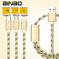 30X BINBO 3 in 1 8pin Micro Type-C USB Cable For Samsung S7 Nexus 5X HTC10 LG Data Sync Charging Cable For iPhone 7 Android RC09