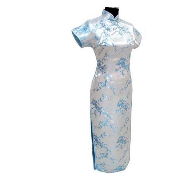 Новинка, длинное атласное женское платье чонсам, элегантное тонкое платье с высоким разрезом, традиционное платье ручной работы с пуговицами и цветами, Qipao, с коротким рукавом, Vestidos - Цвет: Flower 5