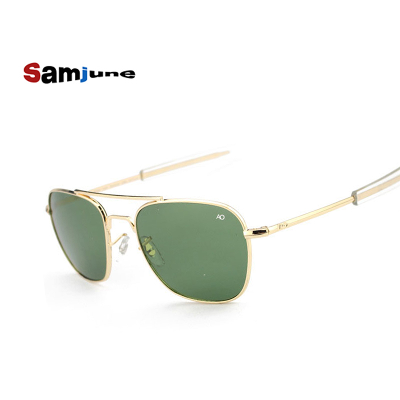 Samjune Fashion Aviation Sunglasses Men Brand Designer AO Sun Glasses For Male American Army Military Optical Glass Lens Oculos