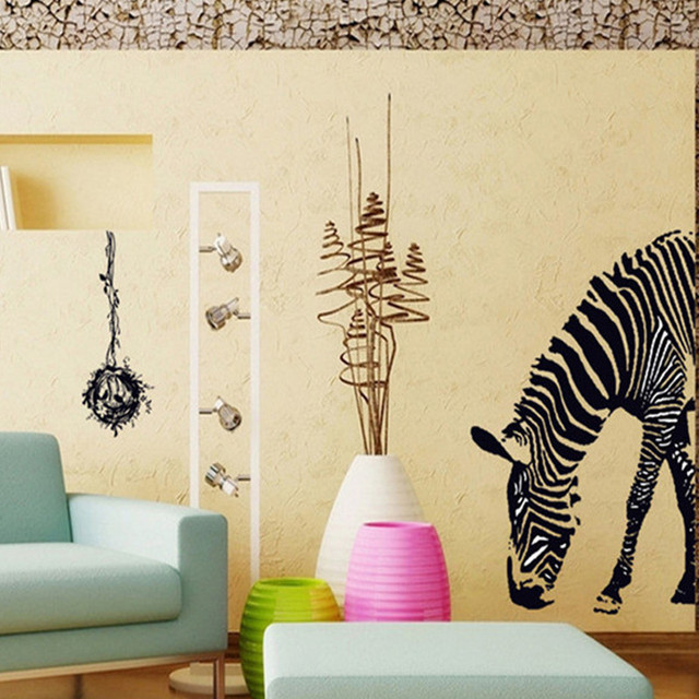 Black Sketch Large zebra wall stickers Size 100*95cm/removable vinyl ...