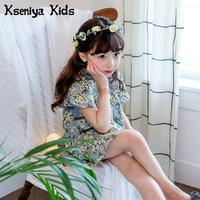 Kseniya Kids 2018 Summer New Girl Blue Cotton Dress Korean Floral Print Dresses For Girls Children