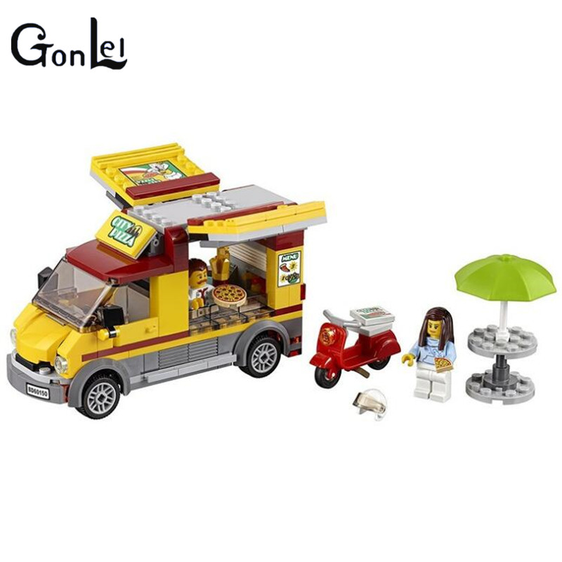 (GonLeI) 10648 261Pcs City Figures Pizza Van Model Building Kits Blocks DIY Bricks Toys For Children Gift Compatible 335pcs 0370 sluban figures aviation city aircraft medical air ambulance model building kits blocks bricks toys for children gift